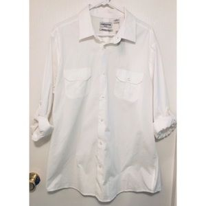 NWT! Men's Claiborne White Button Up Shirt